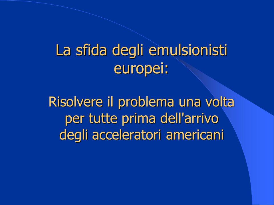La sfida degli emulsionisti europei: Risolvere il problema una volta per tutte prima dell'arrivo degli acceleratori americani