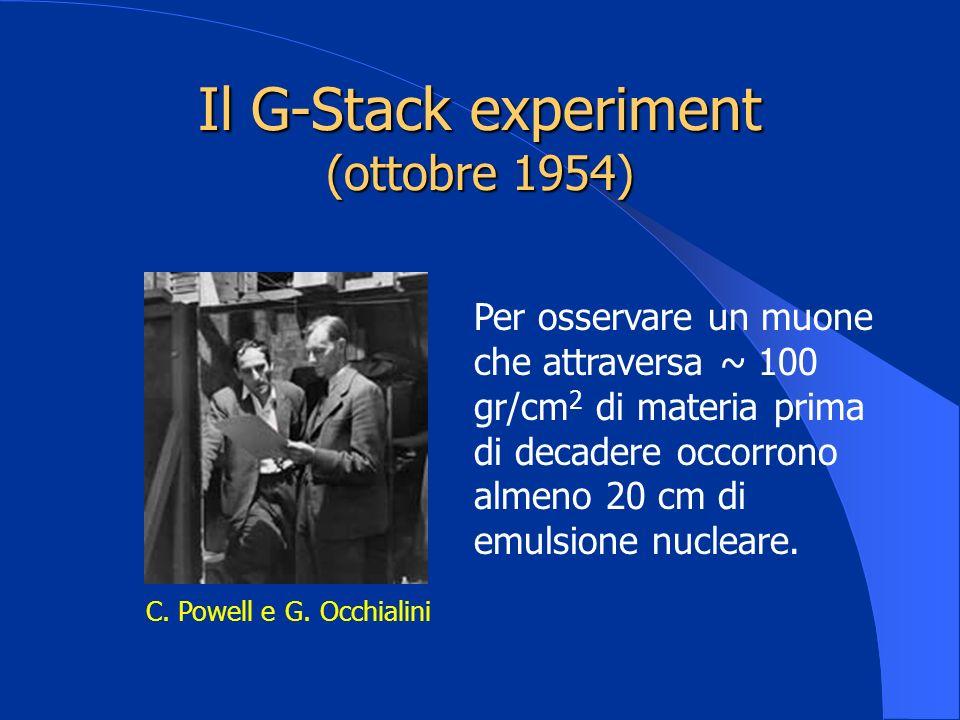 Il G-Stack experiment (ottobre 1954) C. Powell e G. Occhialini Per osservare un muone che attraversa ~ 100 gr/cm 2 di materia prima di decadere occorr