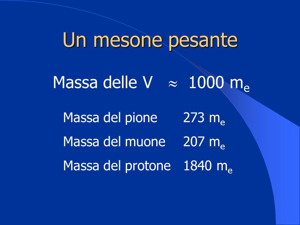 Un mesone pesante Massa delle V 1000 m e Massa del pione273 m e Massa del muone207 m e Massa del protone1840 m e