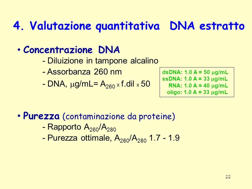 22 4. Valutazione quantitativa DNA estratto Concentrazione DNA - Diluizione in tampone alcalino - Assorbanza 260 nm - DNA, g/mL= A 260 x f.dil x 50 Pu