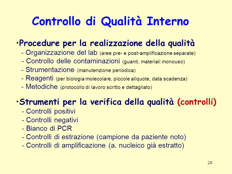28 Controllo di Qualità Interno Procedure per la realizzazione della qualità - Organizzazione del lab (aree pre- e post-amplificazione separate) - Con