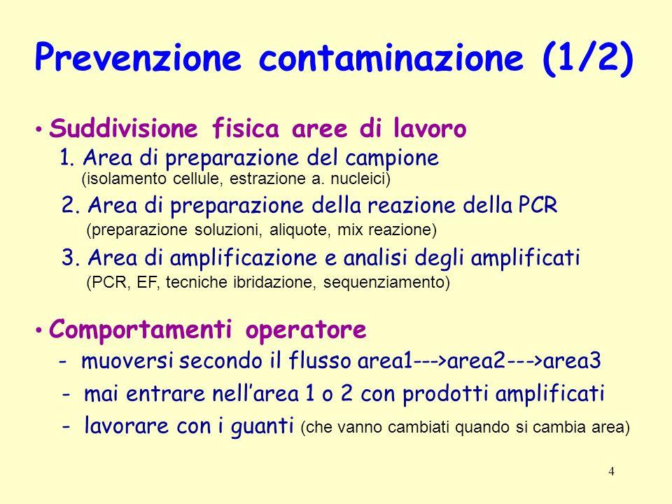 4 Prevenzione contaminazione (1/2) Suddivisione fisica aree di lavoro 1. Area di preparazione del campione (isolamento cellule, estrazione a. nucleici