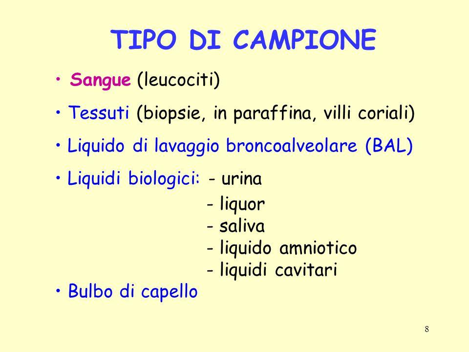8 TIPO DI CAMPIONE Sangue (leucociti) Tessuti (biopsie, in paraffina, villi coriali) Liquido di lavaggio broncoalveolare (BAL) Liquidi biologici: - ur