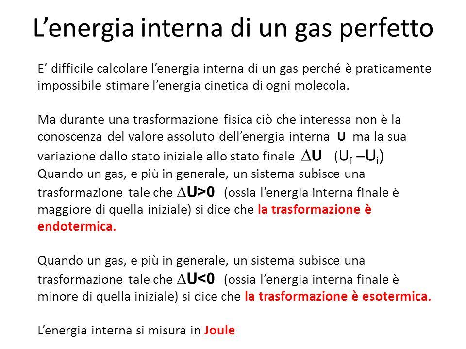 Lenergia interna di un gas perfetto E difficile calcolare lenergia interna di un gas perché è praticamente impossibile stimare lenergia cinetica di og