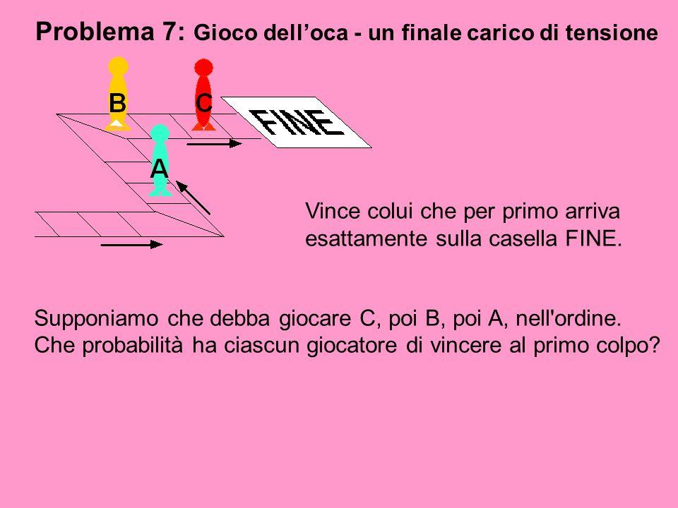 Problema 7: Gioco delloca - un finale carico di tensione Vince colui che per primo arriva esattamente sulla casella FINE. Supponiamo che debba giocare