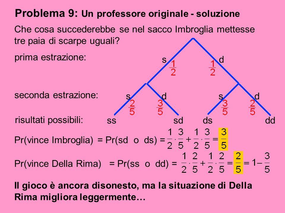 Problema 9: Un professore originale - soluzione Il gioco è ancora disonesto, ma la situazione di Della Rima migliora leggermente… Che cosa succederebb