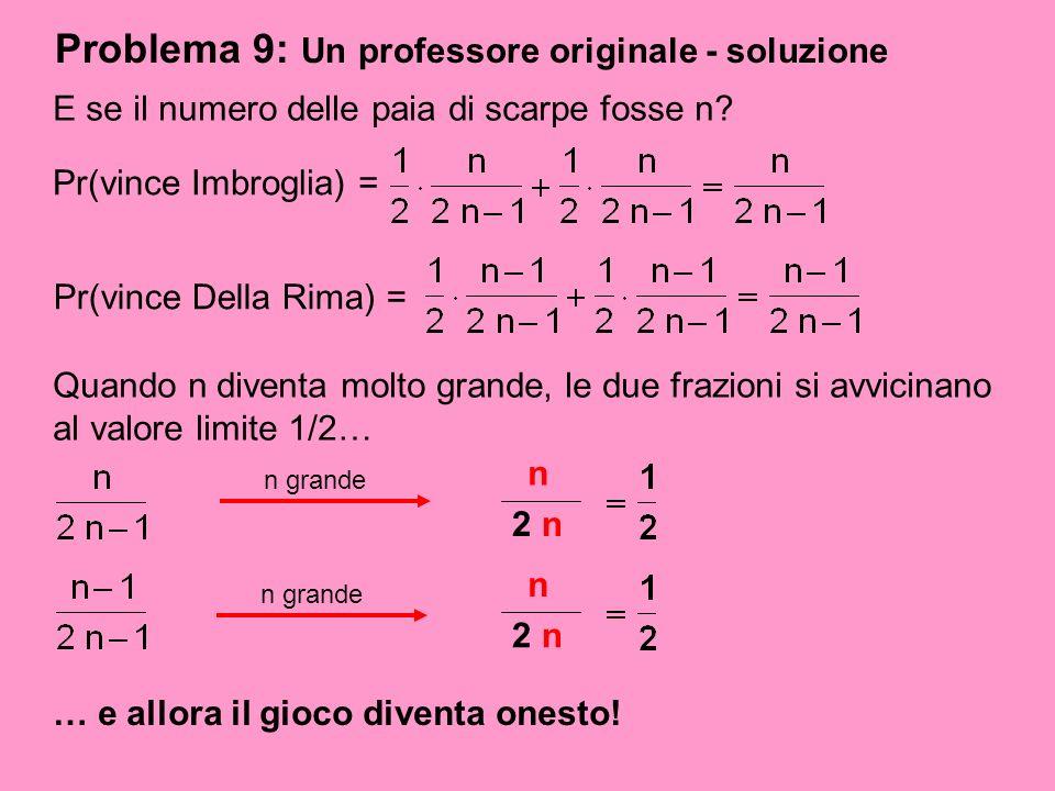 Problema 9: Un professore originale - soluzione E se il numero delle paia di scarpe fosse n? Pr(vince Imbroglia) = Pr(vince Della Rima) = Quando n div