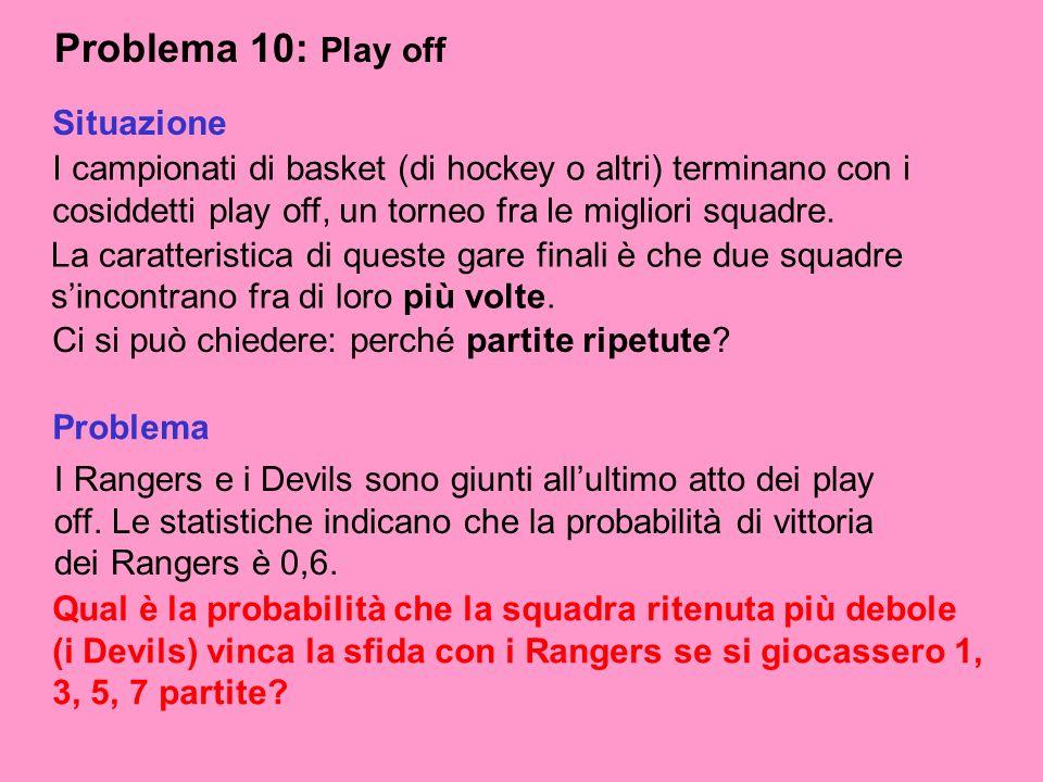 Problema 10: Play off I campionati di basket (di hockey o altri) terminano con i cosiddetti play off, un torneo fra le migliori squadre. Ci si può chi