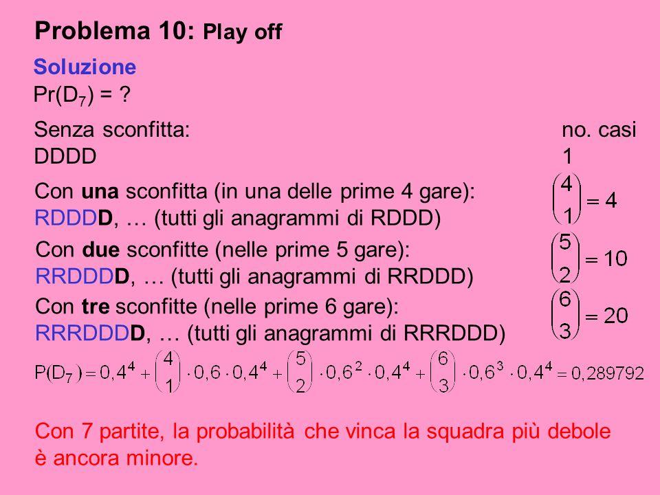 Problema 10: Play off Pr(D 7 ) = ? Soluzione Senza sconfitta:no. casi DDDD1 Con 7 partite, la probabilità che vinca la squadra più debole è ancora min