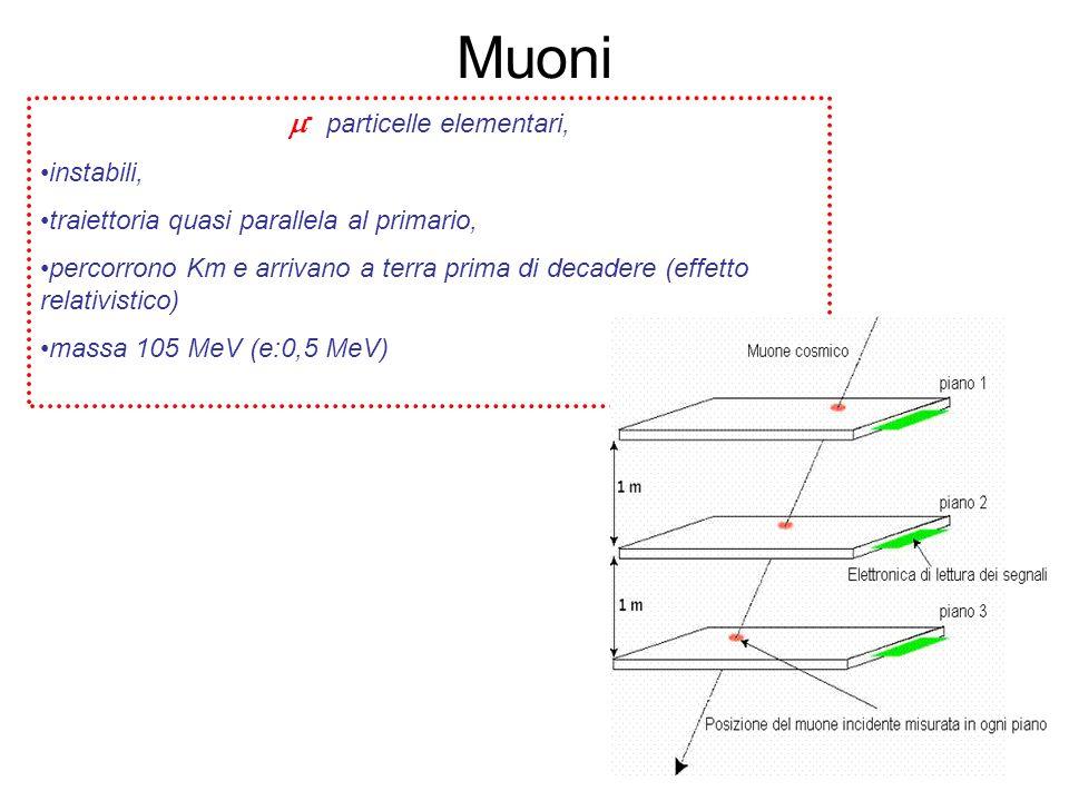 Muoni - particelle elementari, instabili, traiettoria quasi parallela al primario, percorrono Km e arrivano a terra prima di decadere (effetto relativ