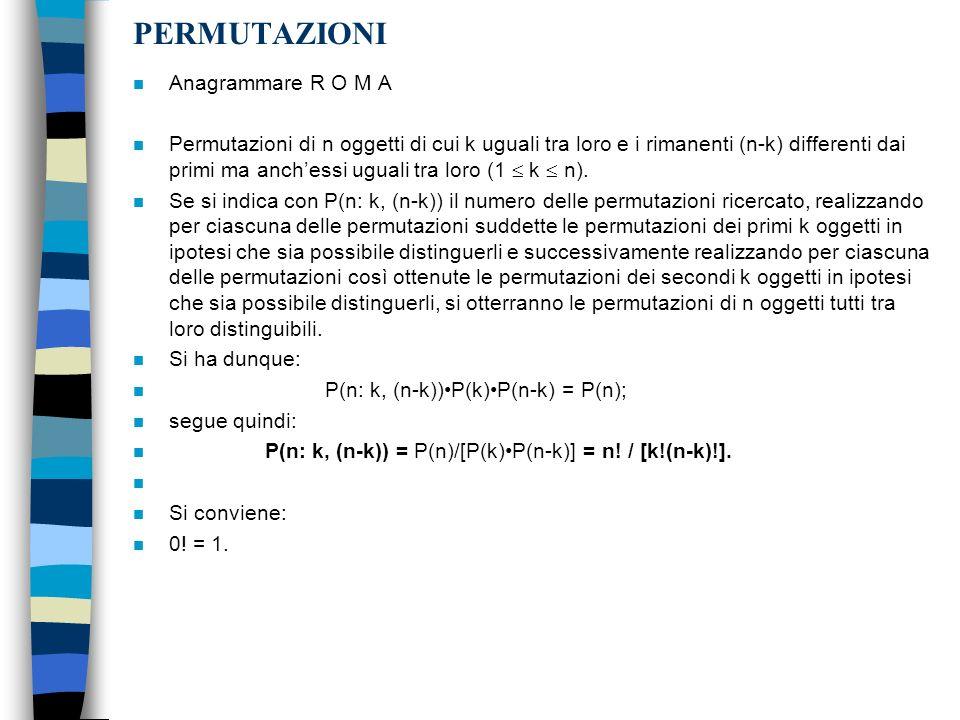PERMUTAZIONI n Anagrammare R O M A n Permutazioni di n oggetti di cui k uguali tra loro e i rimanenti (n-k) differenti dai primi ma anchessi uguali tr