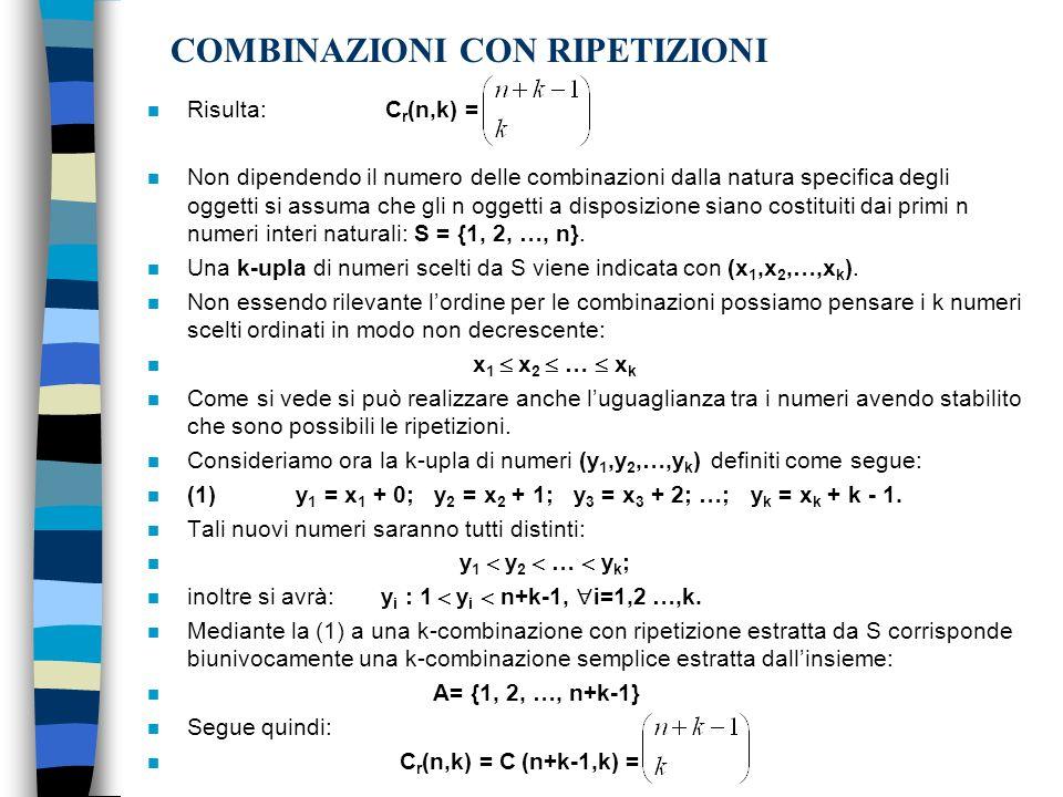 COMBINAZIONI CON RIPETIZIONI n Risulta: C r (n,k) = n Non dipendendo il numero delle combinazioni dalla natura specifica degli oggetti si assuma che g