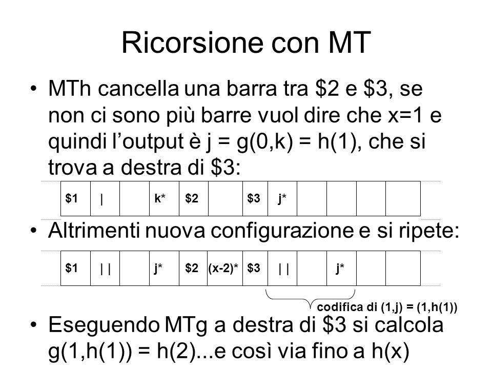 Ricorsione con MT MTh cancella una barra tra $2 e $3, se non ci sono più barre vuol dire che x=1 e quindi loutput è j = g(0,k) = h(1), che si trova a
