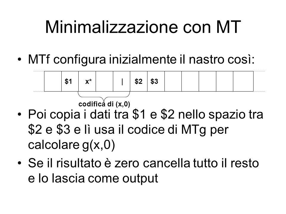 Minimalizzazione con MT MTf configura inizialmente il nastro così: Poi copia i dati tra $1 e $2 nello spazio tra $2 e $3 e lì usa il codice di MTg per