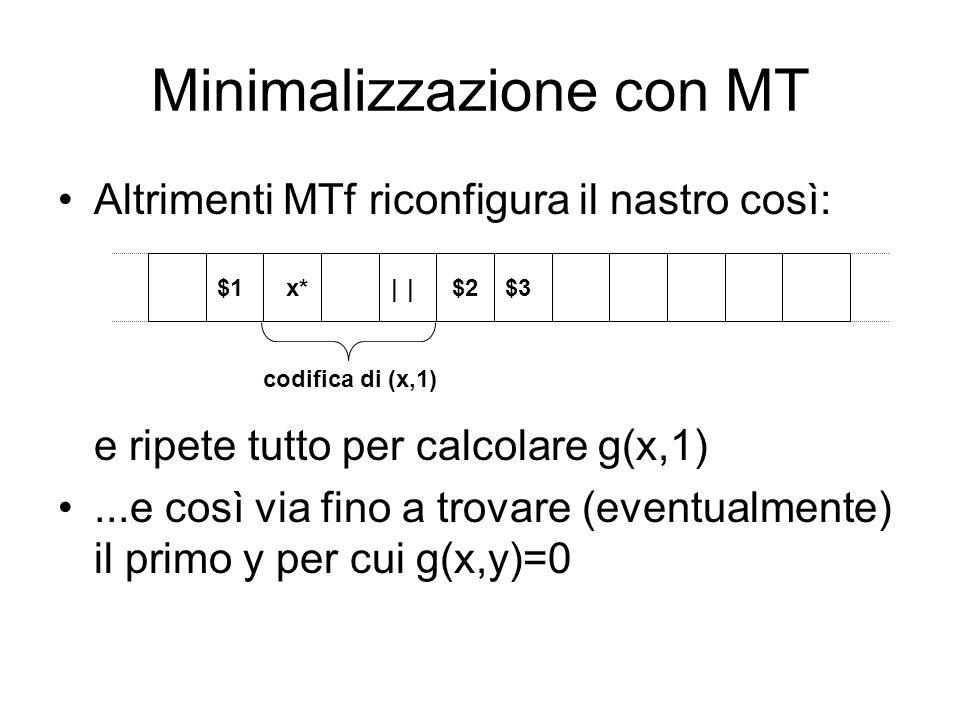 Minimalizzazione con MT Altrimenti MTf riconfigura il nastro così: e ripete tutto per calcolare g(x,1)...e così via fino a trovare (eventualmente) il
