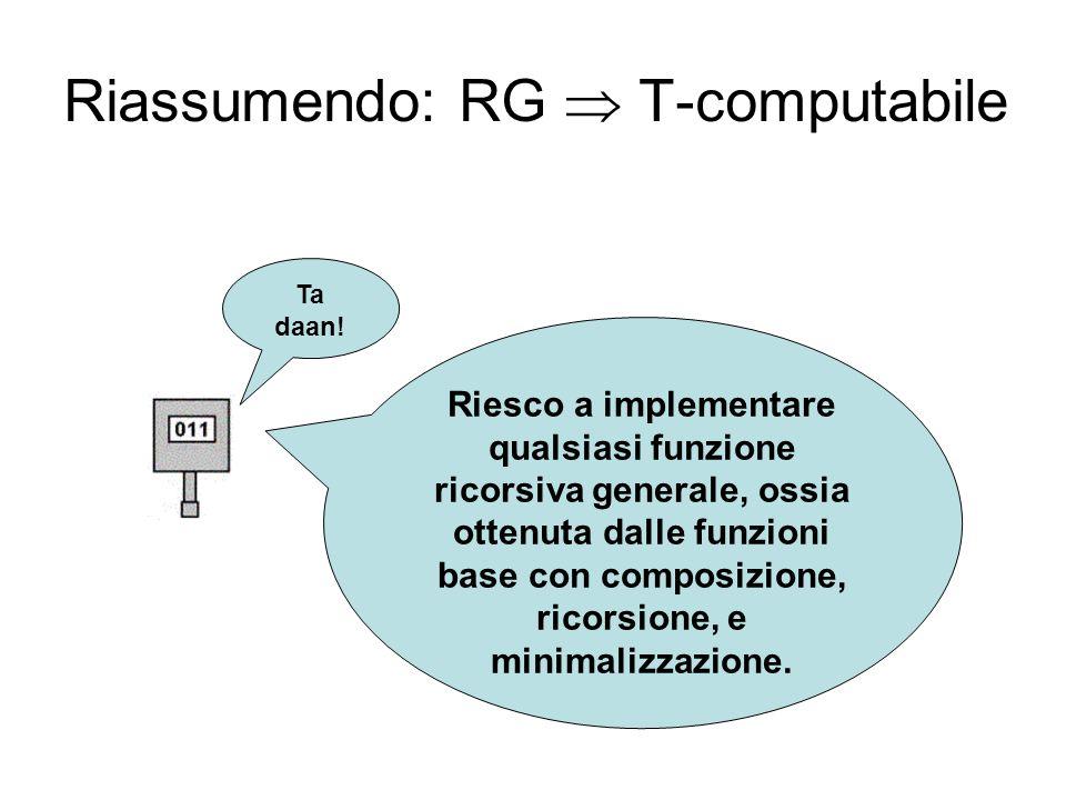 Riassumendo: RG T-computabile Ta daan! Riesco a implementare qualsiasi funzione ricorsiva generale, ossia ottenuta dalle funzioni base con composizion