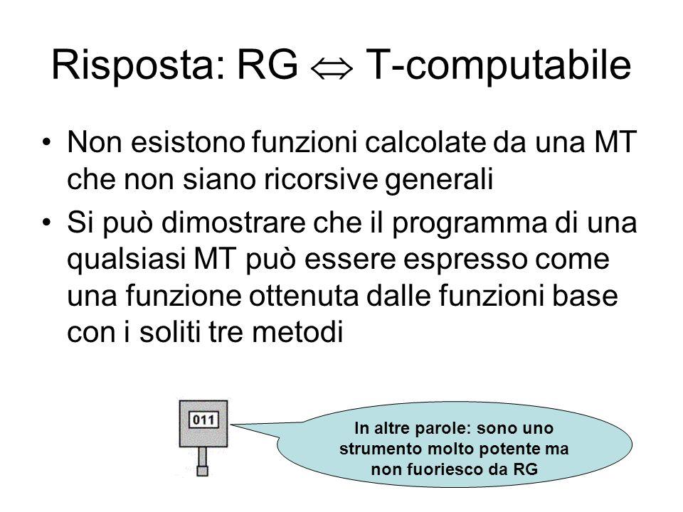 Risposta: RG T-computabile Non esistono funzioni calcolate da una MT che non siano ricorsive generali Si può dimostrare che il programma di una qualsi