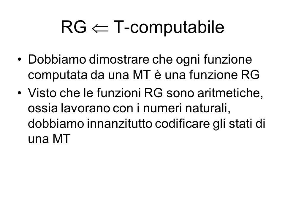 RG T-computabile Dobbiamo dimostrare che ogni funzione computata da una MT è una funzione RG Visto che le funzioni RG sono aritmetiche, ossia lavorano