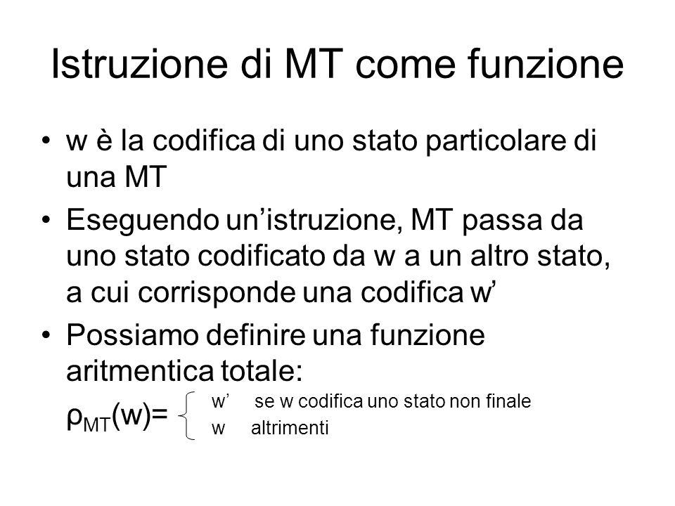 Istruzione di MT come funzione w è la codifica di uno stato particolare di una MT Eseguendo unistruzione, MT passa da uno stato codificato da w a un a
