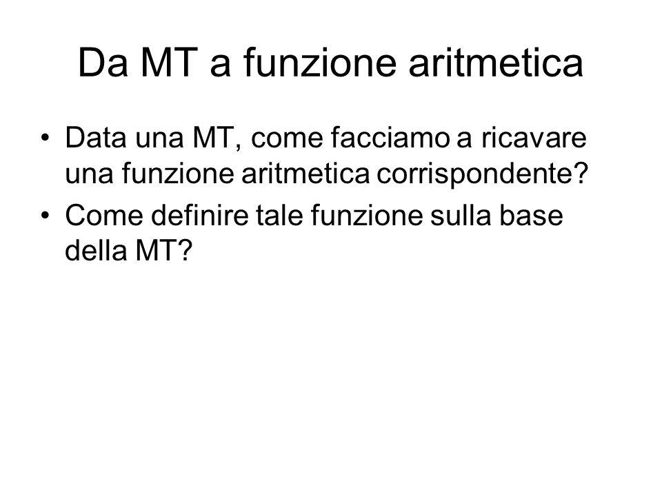Da MT a funzione aritmetica Data una MT, come facciamo a ricavare una funzione aritmetica corrispondente? Come definire tale funzione sulla base della