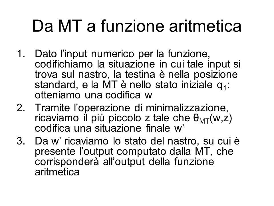 Da MT a funzione aritmetica 1.Dato linput numerico per la funzione, codifichiamo la situazione in cui tale input si trova sul nastro, la testina è nel