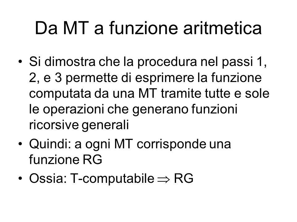 Da MT a funzione aritmetica Si dimostra che la procedura nel passi 1, 2, e 3 permette di esprimere la funzione computata da una MT tramite tutte e sol
