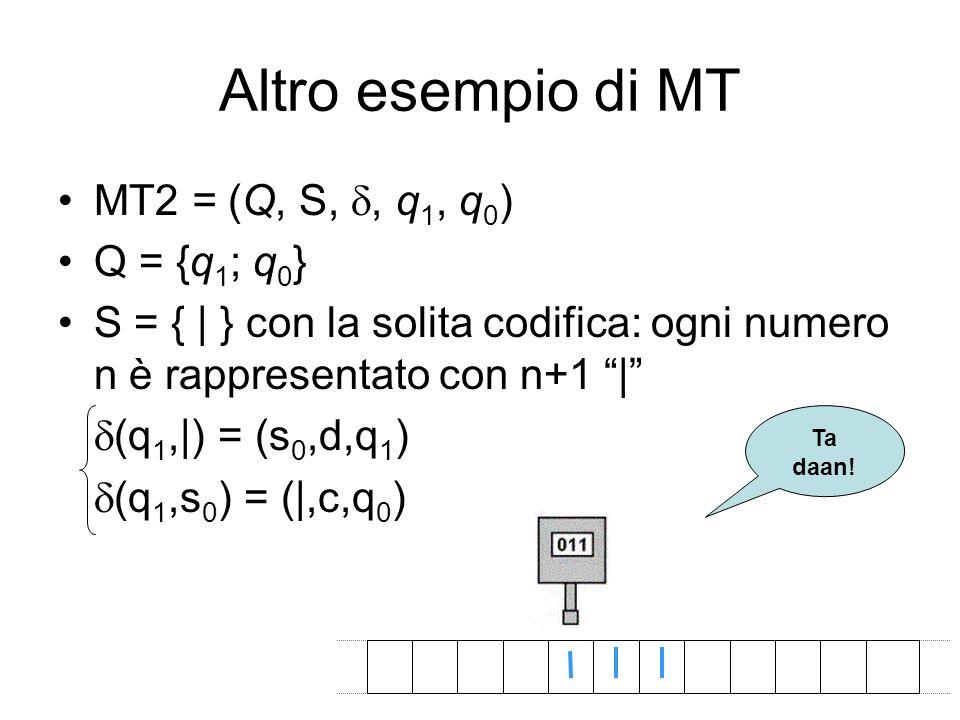 Altro esempio di MT MT2 = (Q, S,, q 1, q 0 ) Q = {q 1 ; q 0 } S = { | } con la solita codifica: ogni numero n è rappresentato con n+1 | (q 1,|) = (s 0