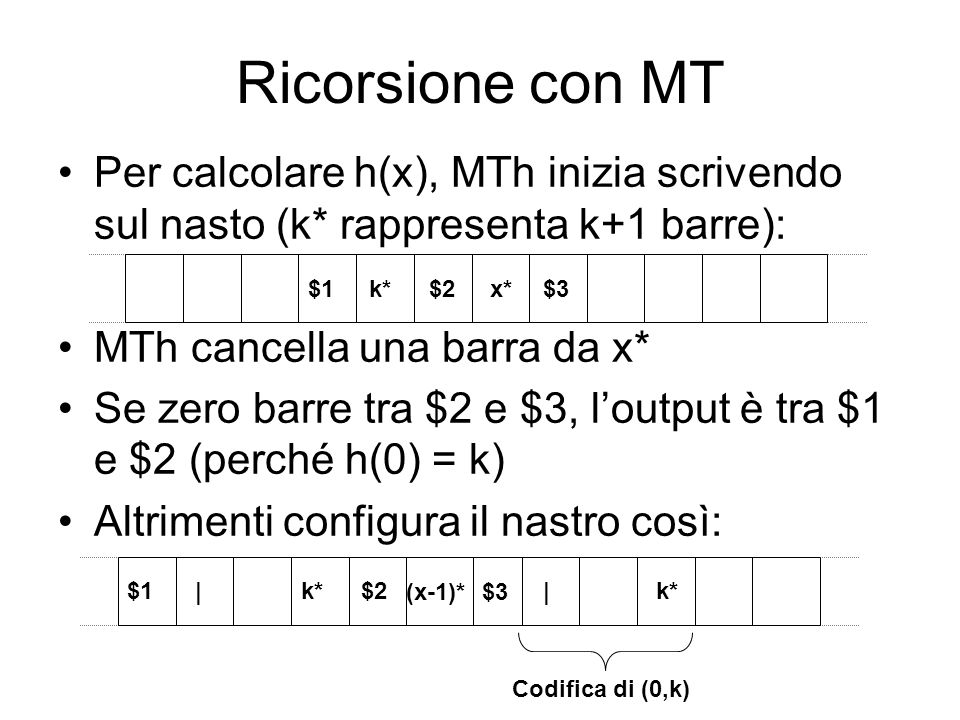 Ricorsione con MT MTh esegue il programma di MTg sulla parte a destra di $3: ottenendo: dove j* è la codifica di j = g(0,k) = h(1) h(0) = k h(s(x)) = g(x,h(x)) $1$2 $3 k* (x-1)* ||k* $1$2 $3 k* (x-1)* | j*
