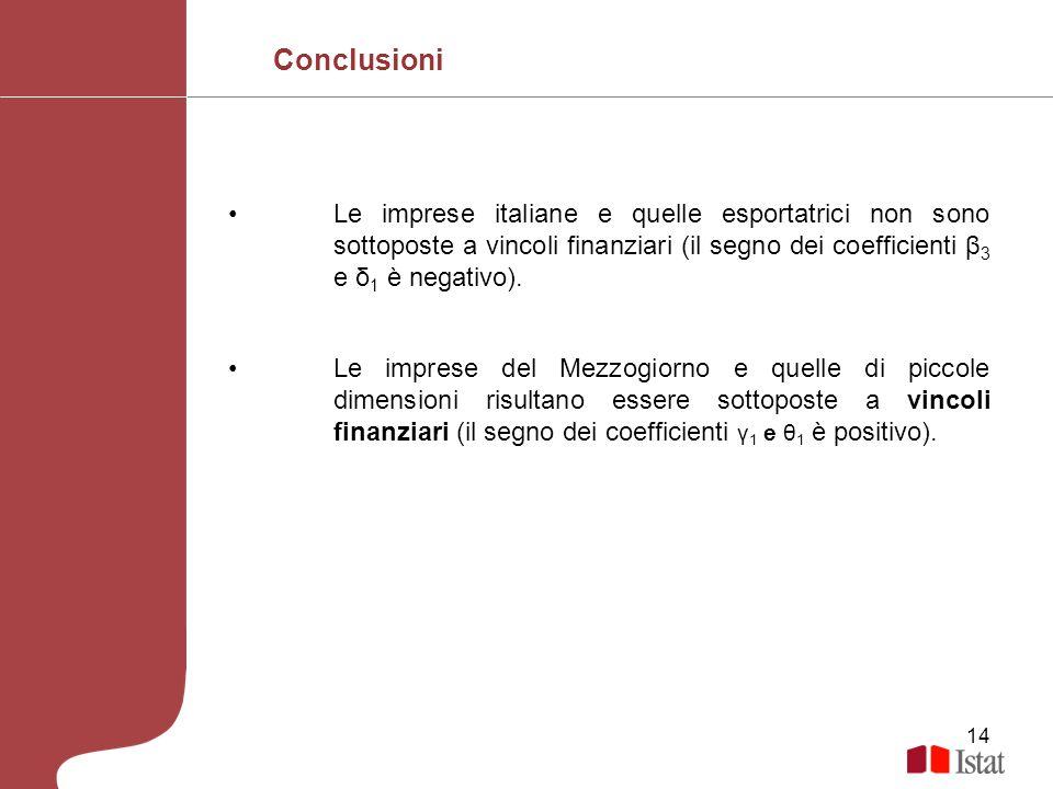 14 Le imprese italiane e quelle esportatrici non sono sottoposte a vincoli finanziari (il segno dei coefficienti β 3 e δ 1 è negativo). Le imprese del