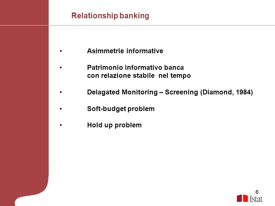 6 Asimmetrie informative Patrimonio informativo banca con relazione stabile nel tempo Delagated Monitoring – Screening (Diamond, 1984) Soft-budget pro