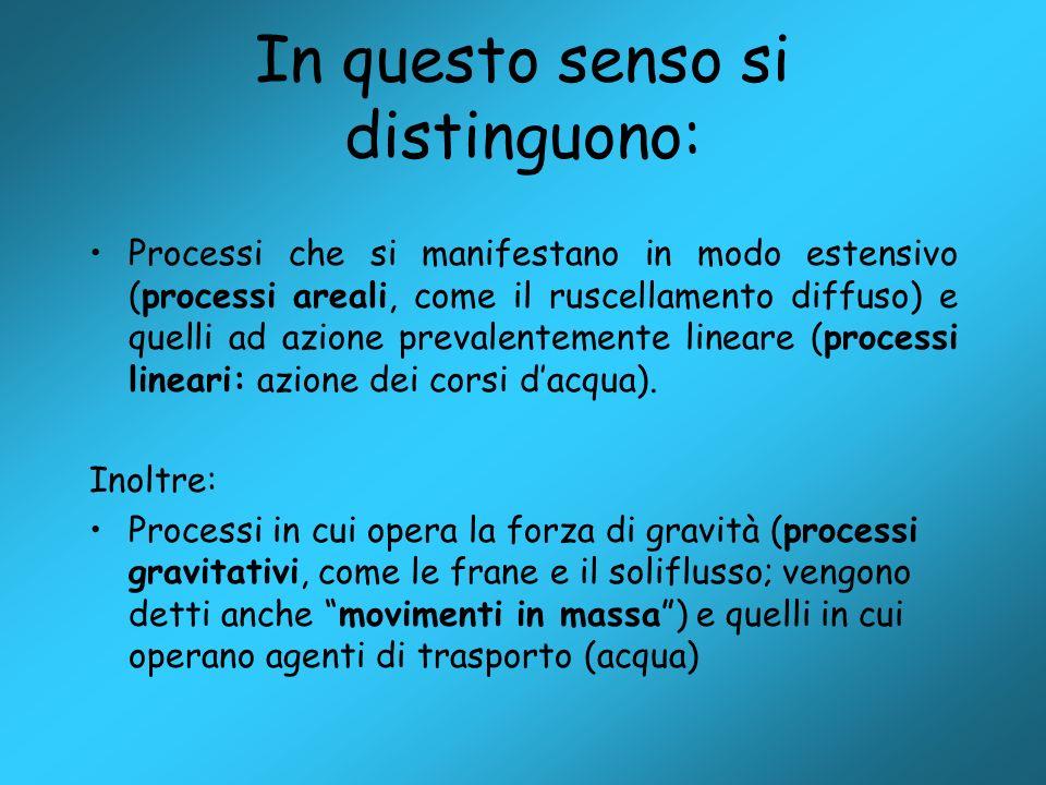 In questo senso si distinguono: Processi che si manifestano in modo estensivo (processi areali, come il ruscellamento diffuso) e quelli ad azione prev