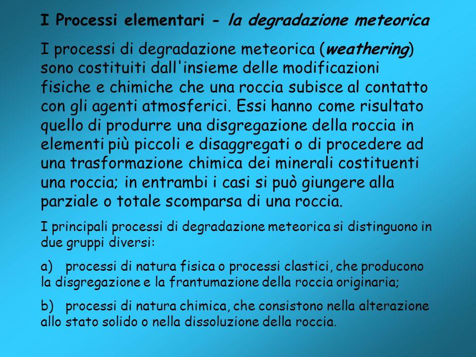 I Processi elementari - la degradazione meteorica I processi di degradazione meteorica (weathering) sono costituiti dall'insieme delle modificazioni f