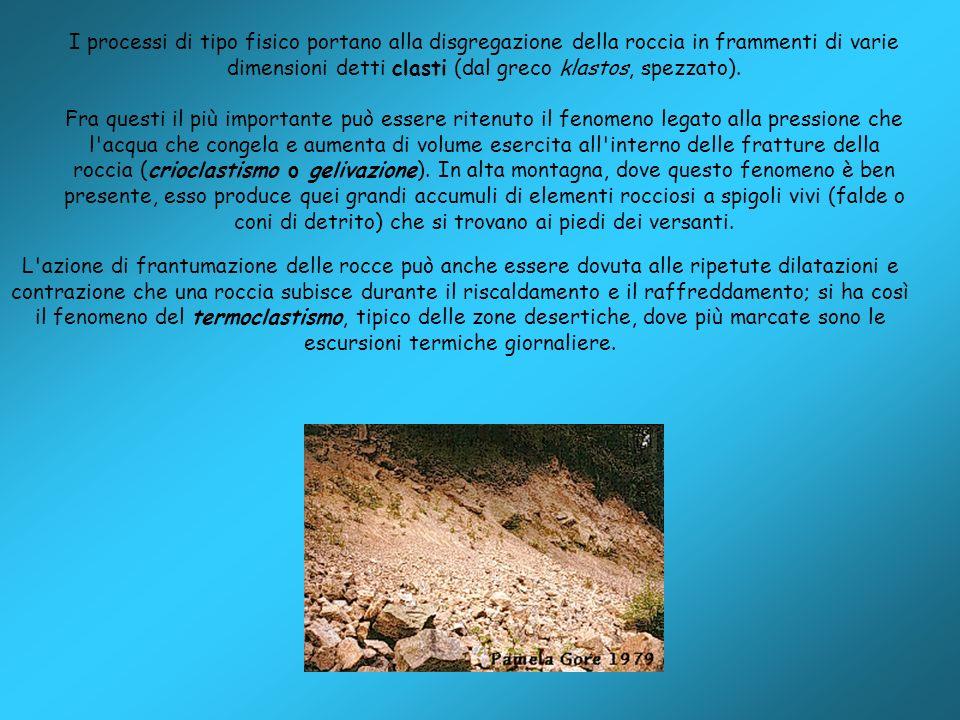 I processi di tipo fisico portano alla disgregazione della roccia in frammenti di varie dimensioni detti clasti (dal greco klastos, spezzato). Fra que