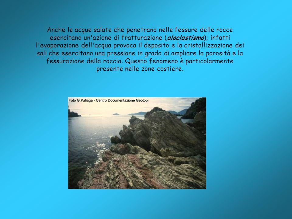 Anche le acque salate che penetrano nelle fessure delle rocce esercitano un'azione di fratturazione (aloclastismo); infatti l'evaporazione dell'acqua