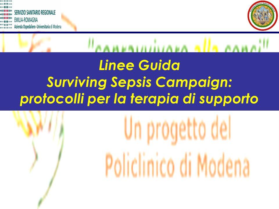 Linee Guida Surviving Sepsis Campaign: protocolli per la terapia di supporto