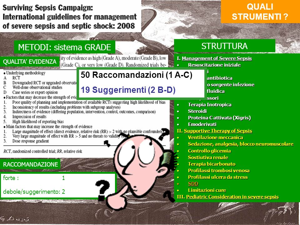 METODI: sistema GRADE I. Management of Severe Sepsis Resuscitazione inizialeResuscitazione iniziale DiagnosiDiagnosi Terapia antibioticaTerapia antibi