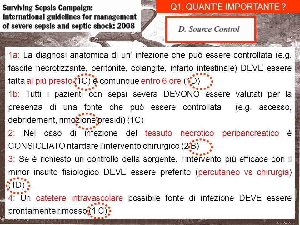 1a: La diagnosi anatomica di un infezione che può essere controllata (e.g. fascite necrotizzante, peritonite, colangite, infarto intestinale) DEVE ess