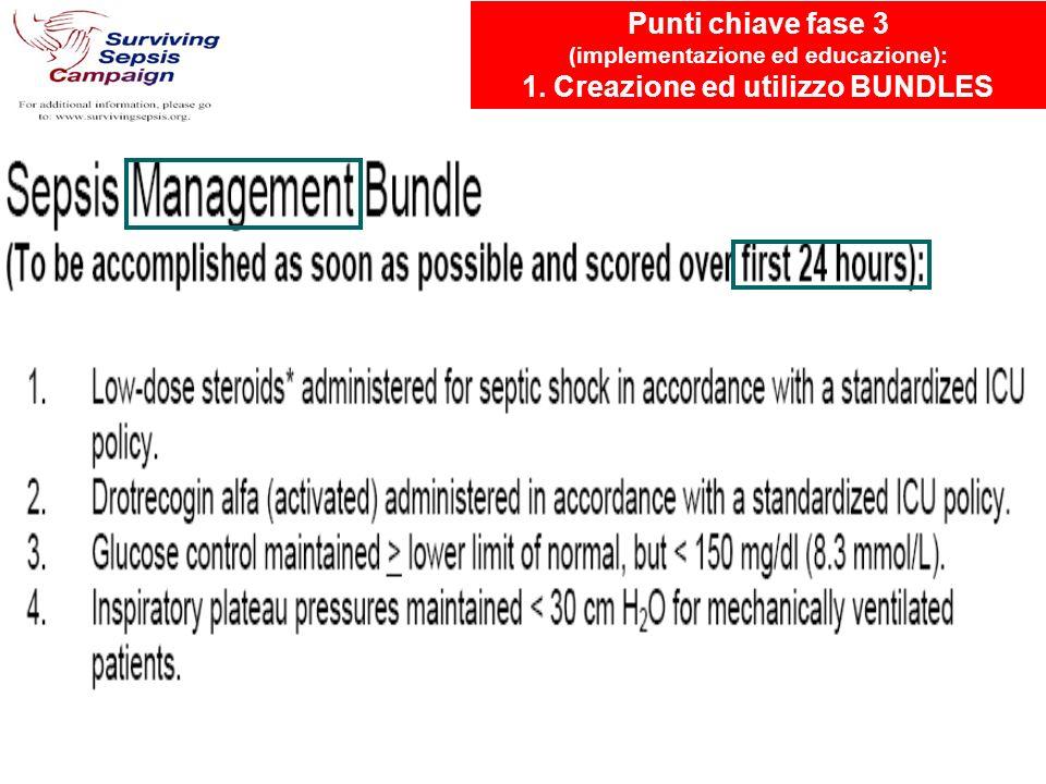 Punti chiave fase 3 (implementazione ed educazione): 1. Creazione ed utilizzo BUNDLES