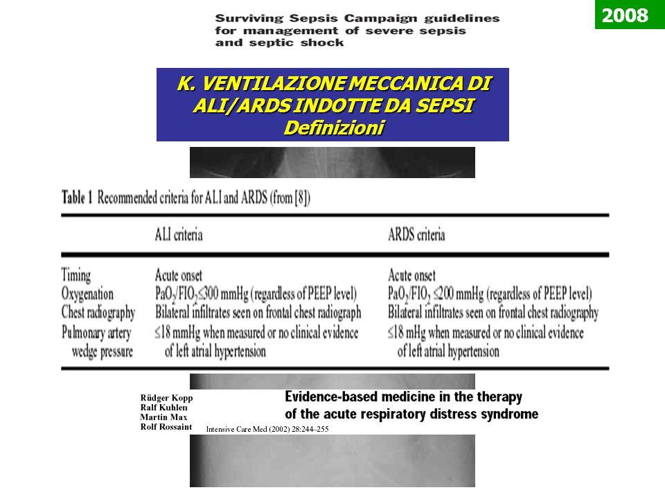 K. VENTILAZIONE MECCANICA DI ALI/ARDS INDOTTE DA SEPSI Definizioni 2008