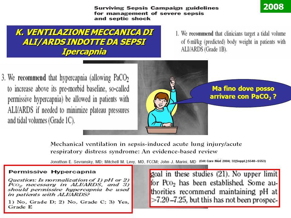 K. VENTILAZIONE MECCANICA DI ALI/ARDS INDOTTE DA SEPSI Ipercapnia Ma fino dove posso arrivare con PaCO 2 ? 2008