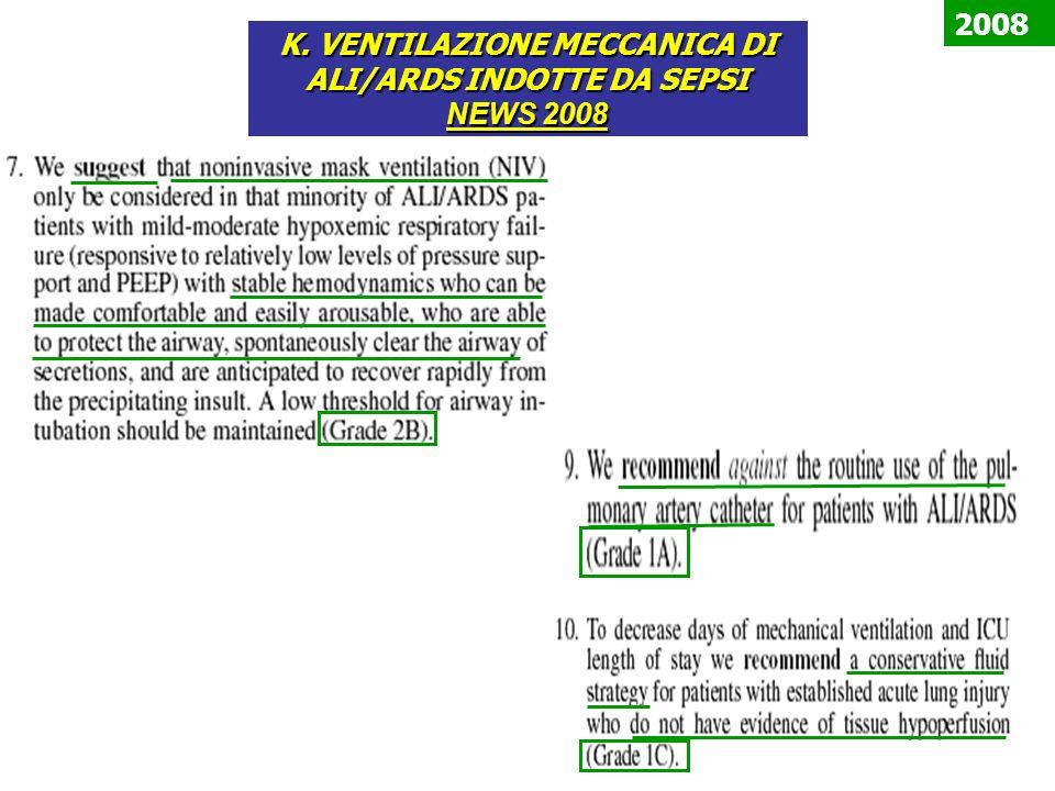 K. VENTILAZIONE MECCANICA DI ALI/ARDS INDOTTE DA SEPSI NEWS 2008 2008