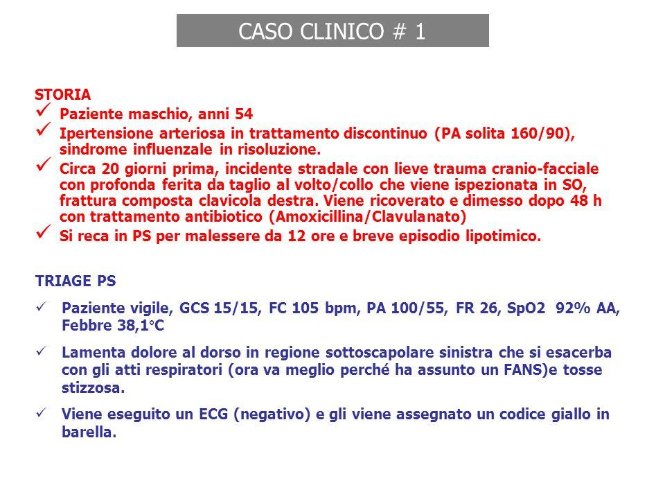 STORIA Paziente maschio, anni 54 Ipertensione arteriosa in trattamento discontinuo (PA solita 160/90), sindrome influenzale in risoluzione. Circa 20 g