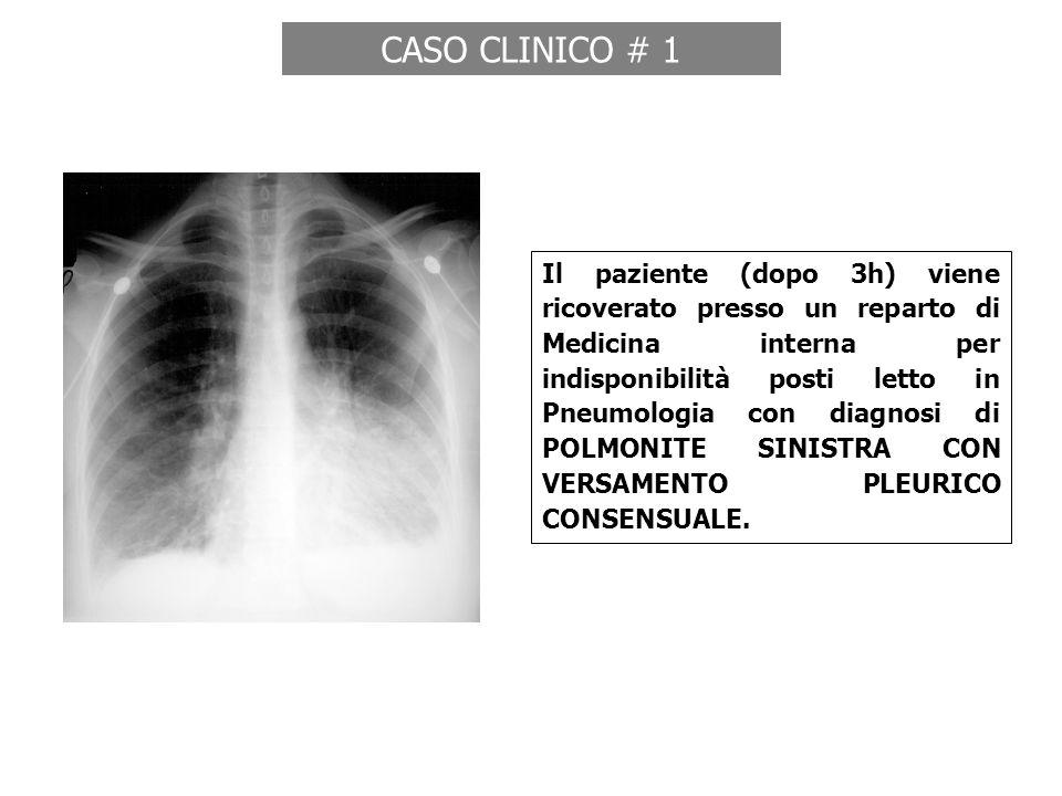 Dopo 5 ore dal ricovero chiamato rianimatore urgenza per crisi lipotimica: Sopore, Dispnea/Tachipnea e SpO2 85% O2 4L/min, FC 141, PA 80/40 (refrattaria a fluidi), Anuria, Hb 8,9, PaO2 52, PCO2 46, pH 7,21, BE -9 CASO CLINICO # 1 Ricovero in ICU: shock settico su polmonite ANEURISMA DISSECATO AORTA TORACICA CON SUCCESSIVA ROTTURA