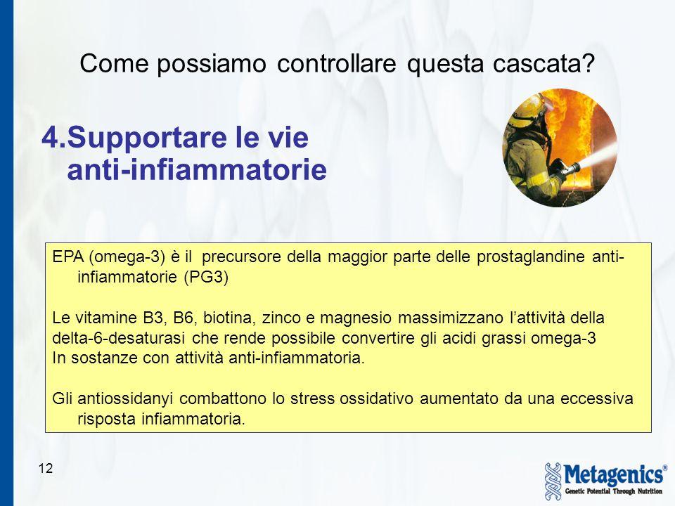 12 4.Supportare le vie anti-infiammatorie EPA (omega-3) è il precursore della maggior parte delle prostaglandine anti- infiammatorie (PG3) Le vitamine