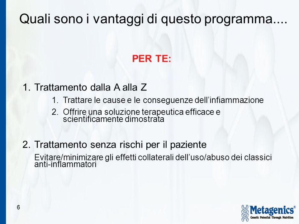 6 Quali sono i vantaggi di questo programma.... PER TE: 1.Trattamento dalla A alla Z 1.Trattare le cause e le conseguenze dellinfiammazione 2.Offrire