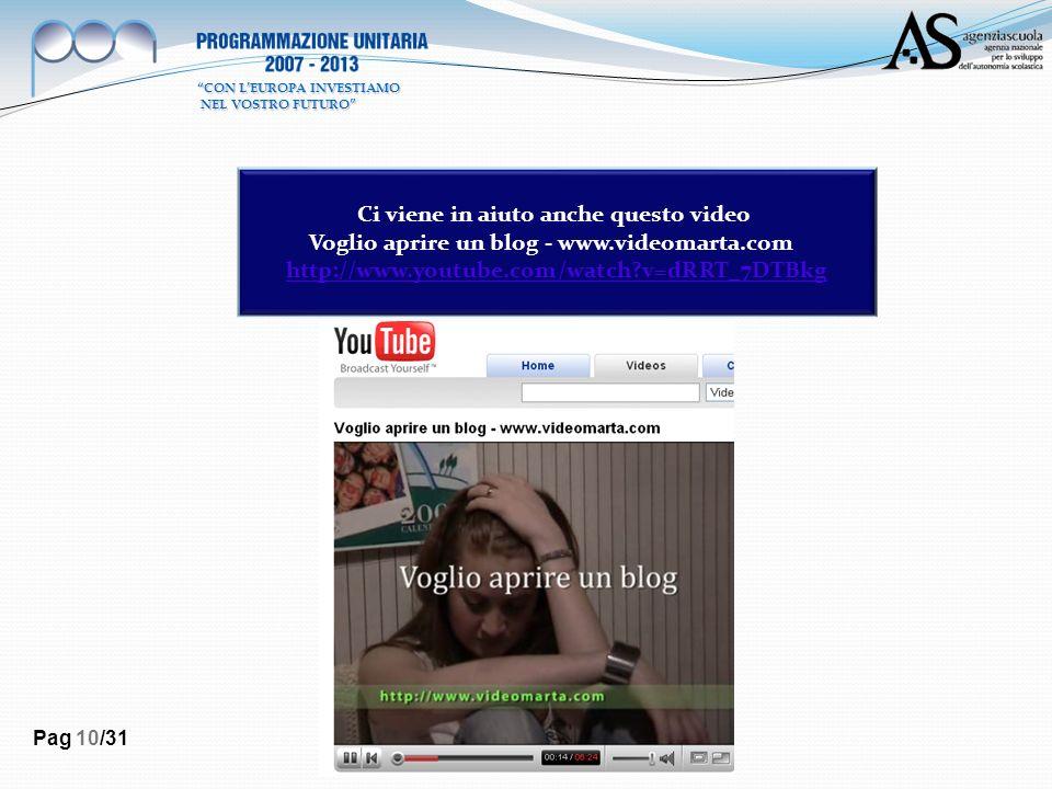 Pag 10/31 Ci viene in aiuto anche questo video Voglio aprire un blog - www.videomarta.com http://www.youtube.com/watch?v=dRRT_7DTBkg CON LEUROPA INVES