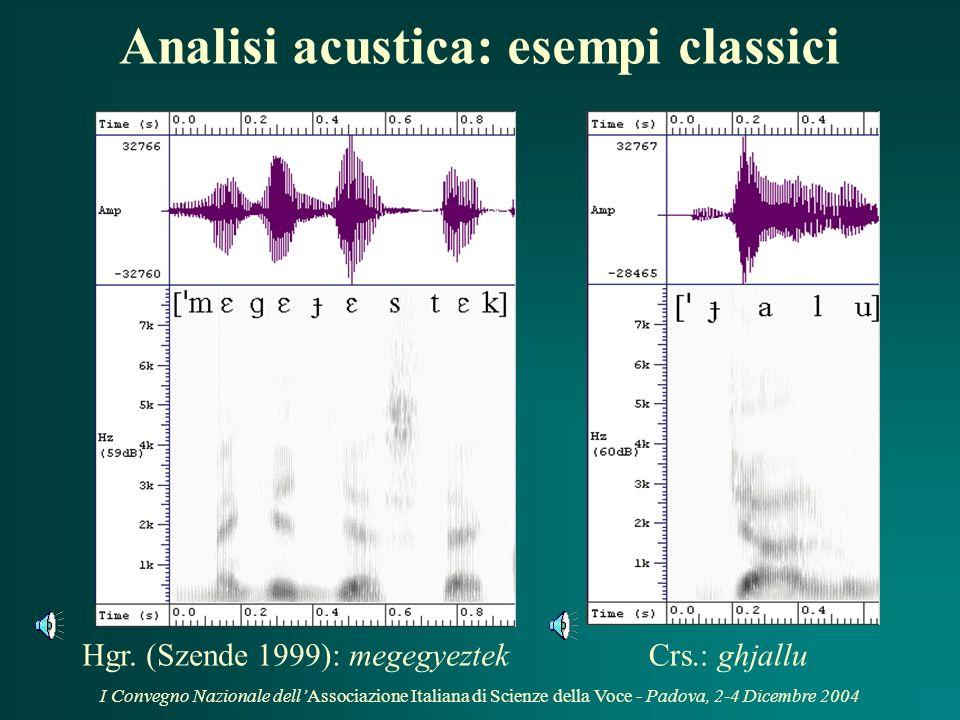 I Convegno Nazionale dellAssociazione Italiana di Scienze della Voce - Padova, 2-4 Dicembre 2004 (Molino & Romano, 2004) Luoghi darticolazione: indagi