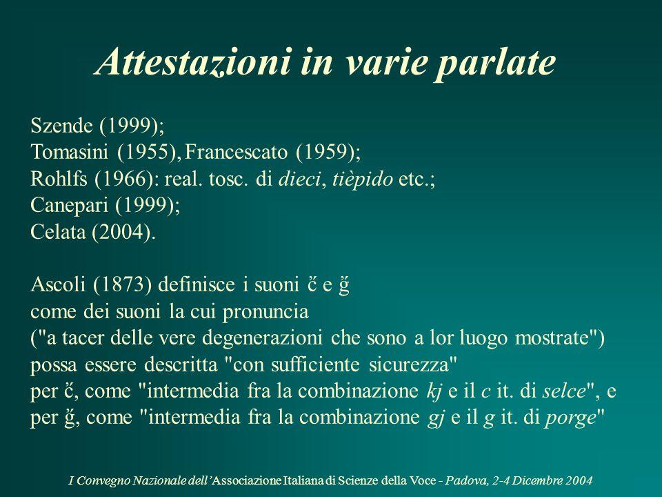 I Convegno Nazionale dellAssociazione Italiana di Scienze della Voce - Padova, 2-4 Dicembre 2004 Definizione Occlusive palatali [ ] e [ ]