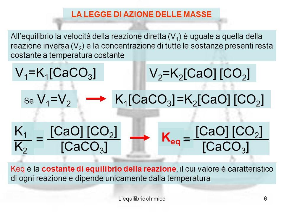 L equilibrio chimico7 Keq è indipendente sia dal cammino seguito per raggiungere lequilibrio, che dalle quantità delle sostanze coinvolte Ad una data temperatura, la Keq di ogni reazione è una proprietà caratteristica della reazione medesima Legge di azione delle masse: è il rapporto tra il prodotto delle concentrazioni molari dei prodotti di reazione ed il prodotto delle concentrazioni molari dei reagenti allequilibrio, ciascuna concentrazione essendo elevata ad una potenza uguale al coefficiente stechiometrico con cui la specie compare nella reazione [CaO] [CO 2 ] [CaCO 3 ] K eq = reagenti prodotti