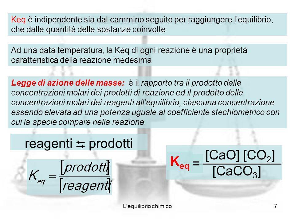 L'equilibrio chimico7 Keq è indipendente sia dal cammino seguito per raggiungere lequilibrio, che dalle quantità delle sostanze coinvolte Ad una data